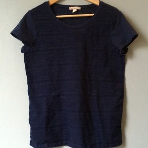 🌼 Lace Front Navy Blue Tee